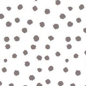 Painted Polka Dot //Warm Grey on White