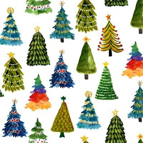 Festive Christmas Trees // White