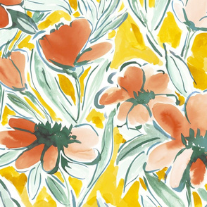 Painterly watercolor floral large scale