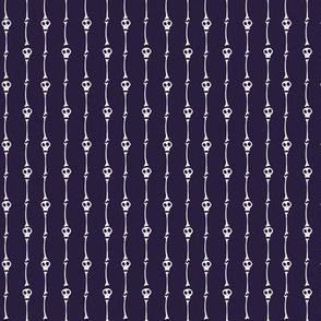 Tiny Skulls and Bones Pinstripes on Dark Purple