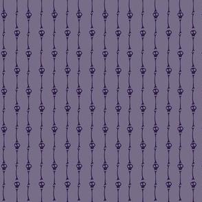 Tiny Skulls and Bones Pinstripes in Purple