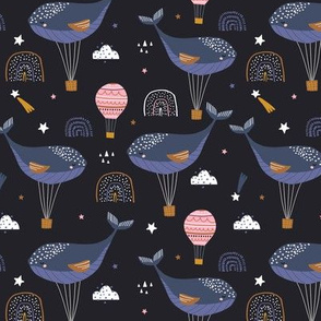 Sleeping whales hot air balloons