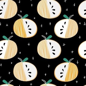 abstract apple in orange and black