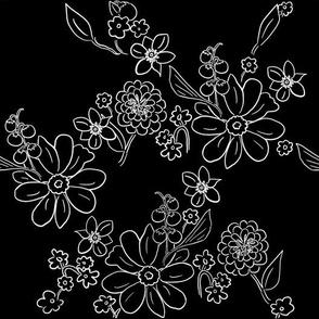 Hand-drawn Garden Lattice Black