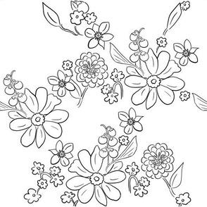 Hand-drawn Garden Lattice White