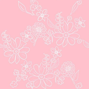 Hand-drawn Garden Lattice Pink
