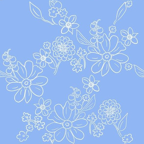 Hand-drawn Garden Lattice Blue