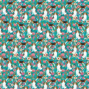 TINY _ beagle beagles cute dogs dog beagle owners florals flowers spring turquoise cute dogs dog pet dog