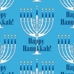 Happy Hanukkah Menorah with Lit Candles