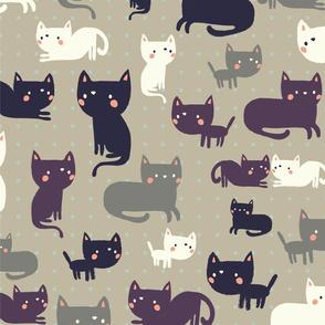 Funny Cats Baby Pattern, Cute Cats Kids Pattern,  Nursery Wallpaper