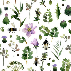 Seamless pattern with watercolor meadow flowesr 1