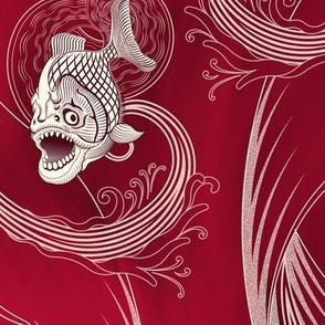 ★ MEGA PIRANHA PARANENSIS ★ Bloody Red, Large scale / Collection : Prehistoric Fish – Jurassic prints