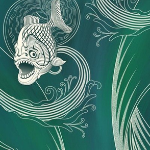 ★ MEGA PIRANHA PARANENSIS ★ Green, Large scale / Collection : Prehistoric Fish – Jurassic prints