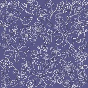 Hand-drawn Garden Outline Blue