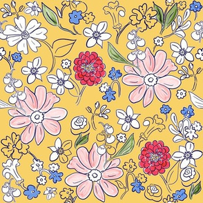 Hand-drawn Garden Provence Yellow