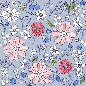 Hand-drawn Garden Provence Light Blue