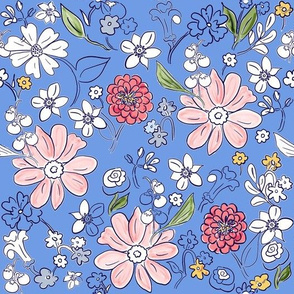 Hand-drawn Garden Provence French Blue
