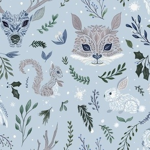 Winter Floral Animals