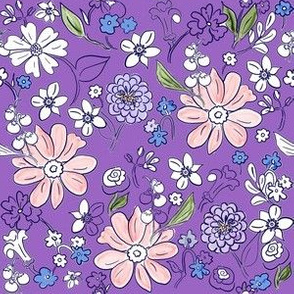 Hand-drawn Garden Purple