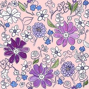 Hand-drawn Garden Pink