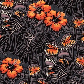 ★ TROPICAL NIGHT ★ Carnivorous Plant, Hibiscus & Monstera / Orange + Grayish Plum, Small Scale / Collection : It's a Jungle Out There – Savage Hawaiian Prints