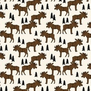 Moose Forest - Dark Brown and Cream by Andrea Lauren