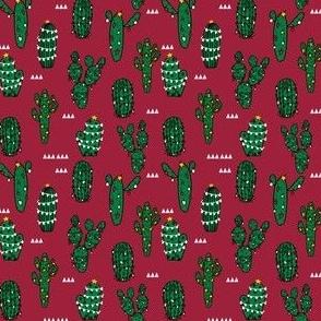 SMALL - christmas cactus // cute christmas xmas fabrics best christmas red and green fabrics