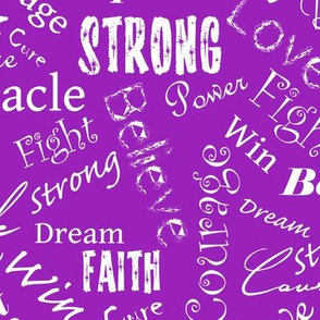 large scale - Cure Hope Words-white on purple