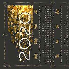 2020 Calendar Tea Towel Black Gold