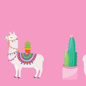 Llama Border Print Pink