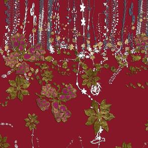Lavender & Gold Flora on Burgundy