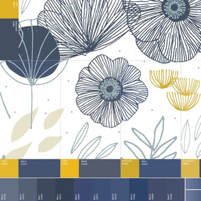 6-in-1 Fat Quarter swatch - White Spring Floral by Friztin