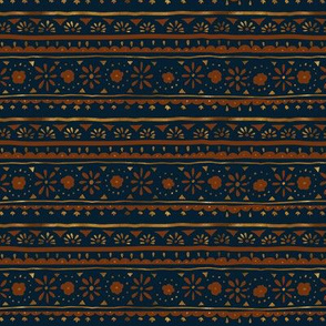 mod boho folk floral stripe - copper on indigo