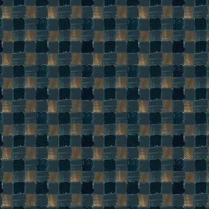 Buffalo plaid - copper on indigo 0.5 inch