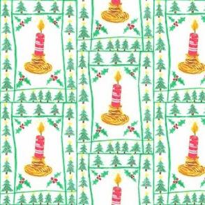 Christmas Foliage & Candle 3x4