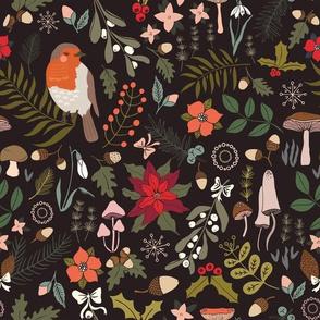 Sleeping Robin - Winter Floral