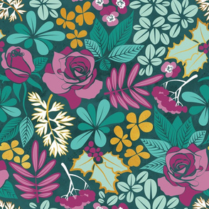 Winter garden // normal scale // green pink and gold