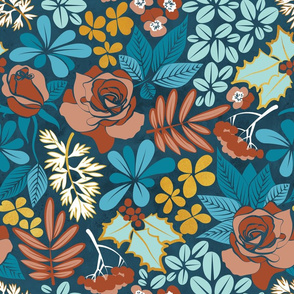 Winter garden // normal scale // blue brown and gold