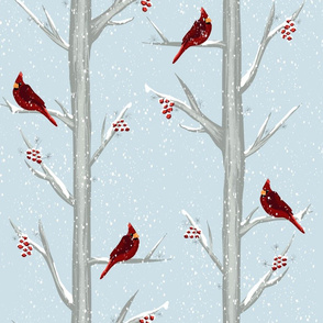 Red Christmas Bird Winter Forest
