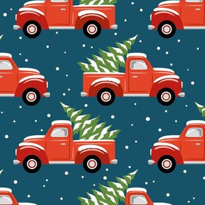 vintage christmas trucks - dark blue