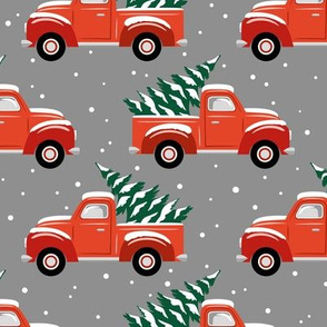 vintage christmas trucks - dark grey