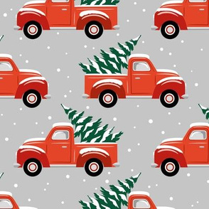 vintage christmas trucks - light grey