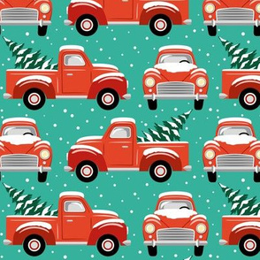 vintage christmas trucks - emerald