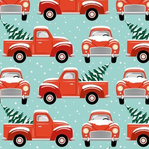 vintage christmas trucks - light blue