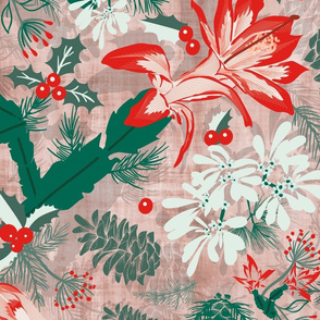Botanical Winter Wonder with Christmas cactus, Snow Flake, Pine Cones and Holly- Large