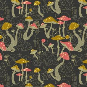 Magic Mushroom Forest Pattern, Fantasy Wallpaper, Ladies shirt, woman shirt, home decoration, home deco