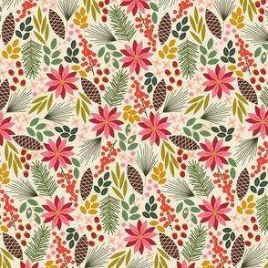 Pinecones and Berries - Cream