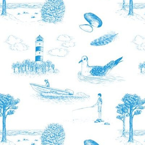 Seaside Town Toile (White and Blue)
