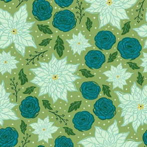 Holiday Floral in Green