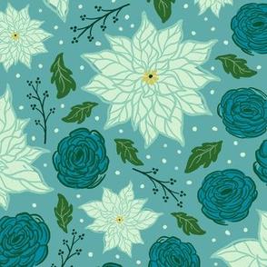 Christmas Poinsettia Floral on Blue